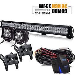 TURBOSII 36Inch 234W LED Light Bar Offroad + 2PCS 4In 18W Cu