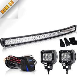 "TURBOSII 50"" Curved LED Light Bar Spot Flood Offroad w/ 4"" P"
