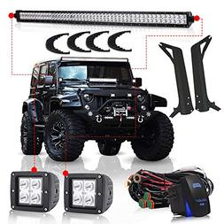 TURBOSII For 1997-2006 Jeep Wrangler TJ 50Inch Led Light Bar