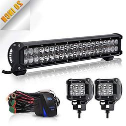 TURBOSII Led Light Bar 20Inch 126W Spot Flood Combo LED Off