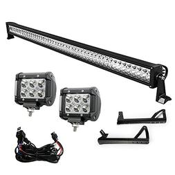 YITAMOTOR 52 Inch LED Light Bar + 2X 18W 4 Inch Spot Fog Lig