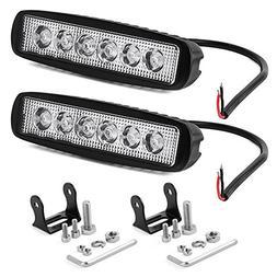 YITAMOTOR LED Light Bar 2PCS 18W 6 Inch Flood LED Work Light