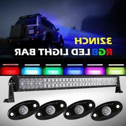 Auxbeam 32inch 180W CREE LED Light Bar+4X LED Rock Lights Of
