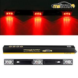 """Partsam 1 14"""" Clear/Red 3Lamp ID LED Light Bar Tailgate Moun"""