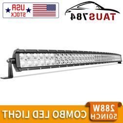 curved 50inch led light bar 2w flood