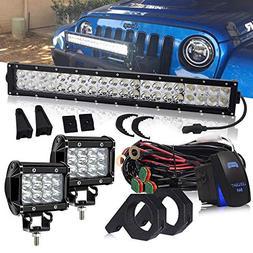 DOT 22 Inch 120W LED light bar + 2PCS 4 In Triple Row Cube P
