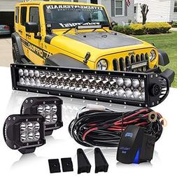 DOT 22 Inch 120W Led Light Bar On Windshield Bumper + 4 Inch