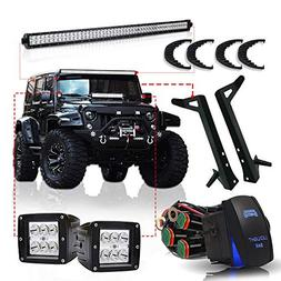 "TURBOSII DOT 50"" Inch LED Light Bar Offroad Light Fit Jeep W"