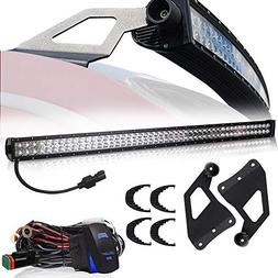 "TURBOSII DOT 50"" LED Light Bar with Upper Roof Windshield Mo"