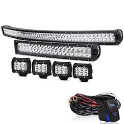 AUSI DOT 52Inch 300W Curved Led Light Bar + 20Inch Curved Le