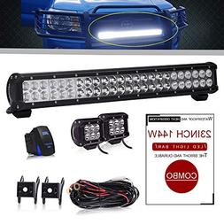 DOT Approved 23 Inch 144W Led Light Bar Offroad On Grill Win