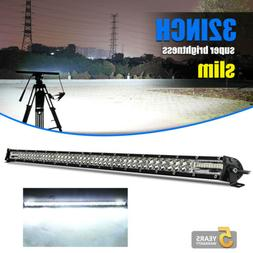 Dual Row 32INCH LED Light Bar 2040W Driving Offroad Flood Sp