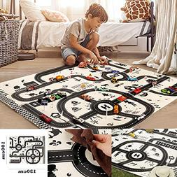 Pausseo Kids Child Gaming Play Mat City Road Buildings Parki