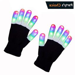 ZPTONE LED Gloves Finger Lights 3 Colors 6 Modes Flashing Ra