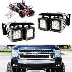 iJDMTOY LED Pod Light Fog Lamp Kit For 2007-14 Chevy Silvera
