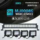 "22inch 280W+4x 4"" 18W LED Light Bar Spot Flood Offroad Fog T"