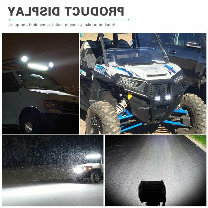"""18Inch 126W Work Light Bar + 4X 4"""" Lamp Spot Flood"""