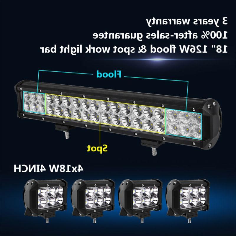 18inch 126w led work light bar 4x
