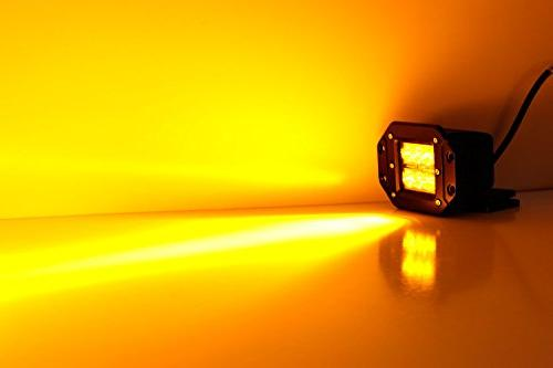 iJDMTOY Amber Yellow Flush Mount 24W LED Pod Truck Jeep Off-Road 4WD