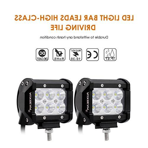Auxbeam 2Pcs 4 18W CREE Light Bar Flood degree for Truck Car