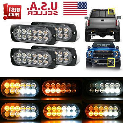 4x amber 12 led car truck emergency