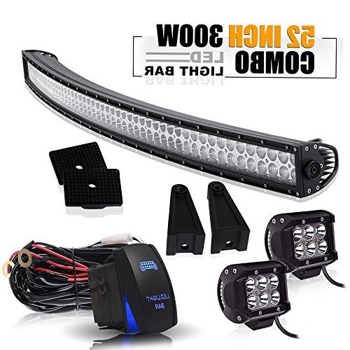 "52"" 300W Spot Flood Combo Offroad Curved Led Light Bar W/ 4I"