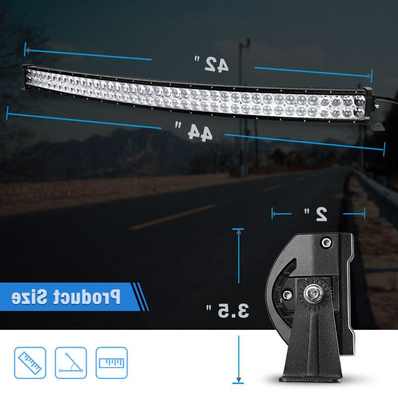 560W 42inch Light Bar Spot 4X4 Curved &Wiring