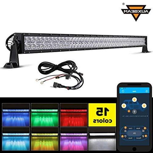 """Auxbeam 52"""" 300W LED Light Bar 5D RGB Offroad Color Changing"""