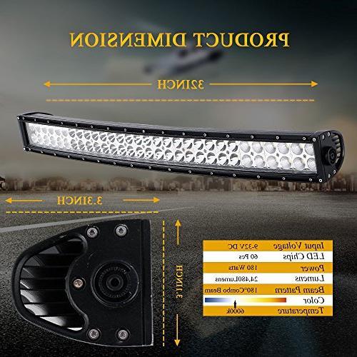 DOT 32 Inch 180W Curved + 2PCS 18W Lights W/Rocker Harness For Offroad SUV UTV Truck Polaris