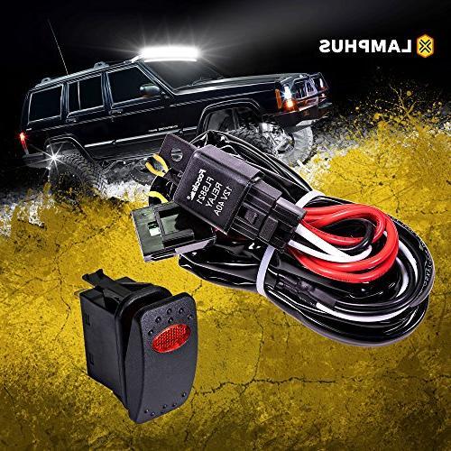 LAMPHUS 12V 40A Off Road ATV/Jeep LED Light Bar Relay Wiring