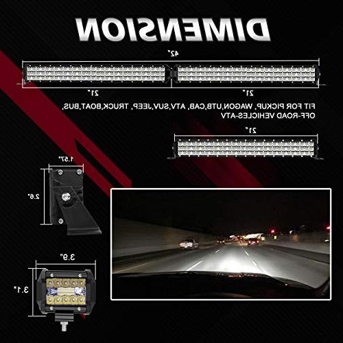 "LED Rigidhorse 400W + 200W Flood Beam Light + 4"" LED Light Pods Fit Jeep YJ TJ LJ"