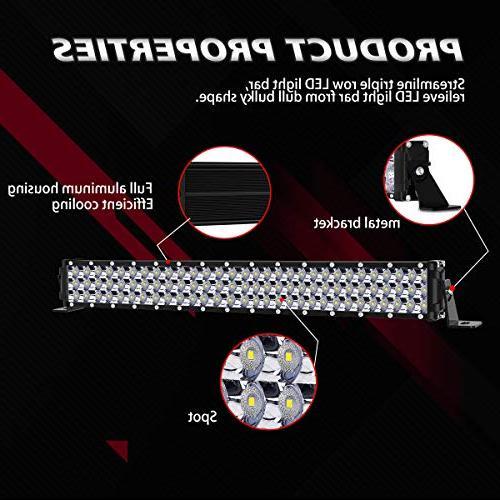 "LED Light Bar Kit, Rigidhorse 400W 22 Inch 200W Beam Xenon Light Bars 4"" Pods Combo Fit Jeep Wrangler JK"