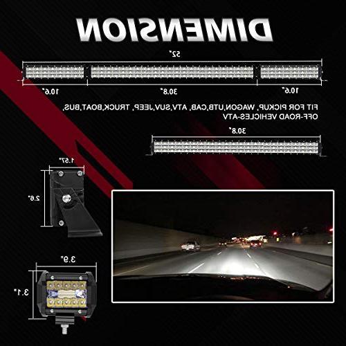 "LED Light Bar Rigidhorse 500W 32 200W Spot Light Bars 4"" Pods Jeep Wrangler JK CJ LJ"