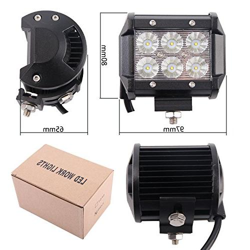 LED Light Northpole Light 2x Waterproof Cree Spot Bar Light Mounting Bracket for Off-road, ATV, Jeep