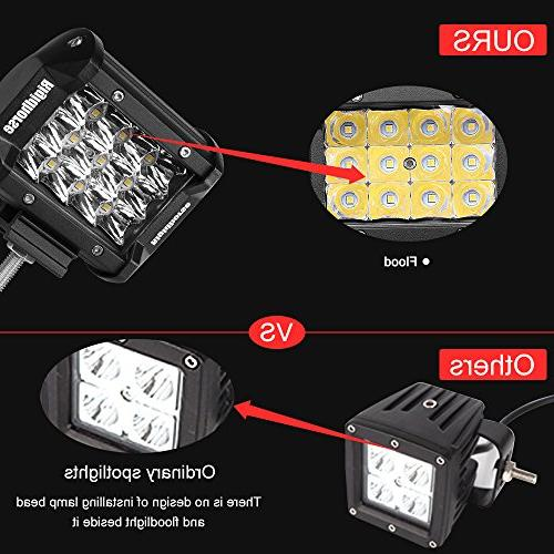 LED 3 Inch Spot Lights Fog Driving Lights Work Light, For Jeep Trucks Bracket, 1