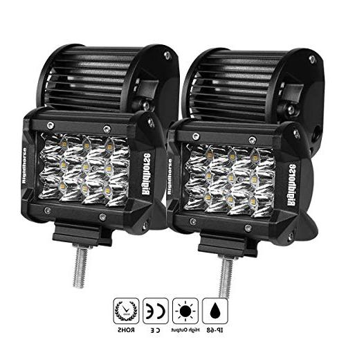 LED Light Bar, Rigidhorse 3 Row 4PCS 4 Inch 50W Light pods S