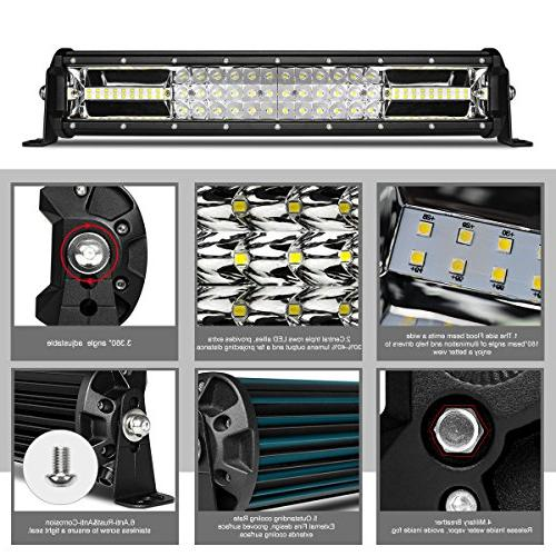 LED Light Bar Triple Row 12 Inch 108W LED Light Spot Flood Combo LED Lights LED Lights SUV Lighting Adjustable