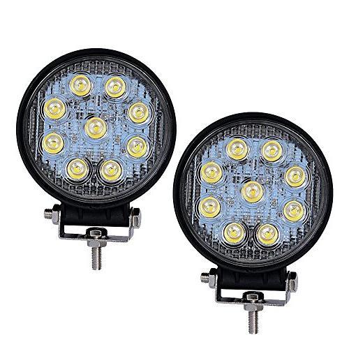 LED Light Bar YITAMOTOR 2PCS 4Inch 27W Round LED Work Light