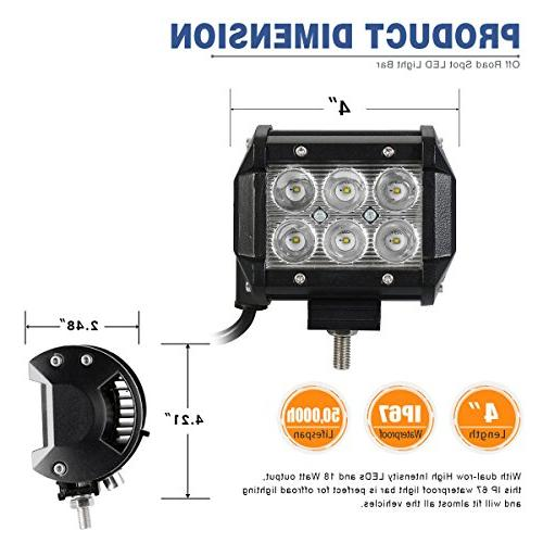 LED Light Bar 2Pack 18W Pod Light Driving Fog Light Cart SUV 12V 24V, 2 Year Warranty