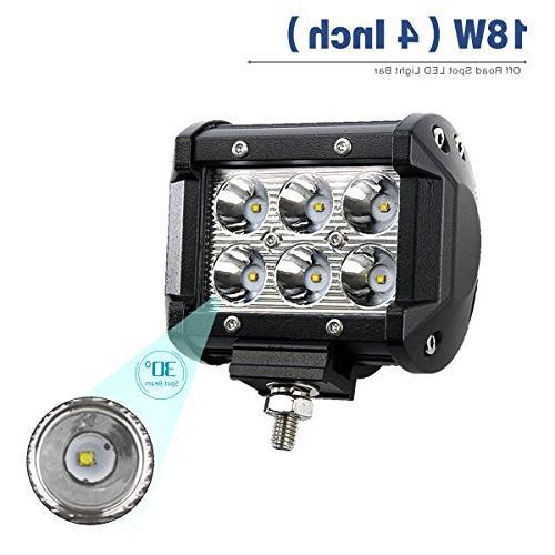LED Light Bar YITAMOTOR 2Pack 18W LED Work Light Pod Light Light Fog Light Light Waterproof SUV 24V, 2 Year