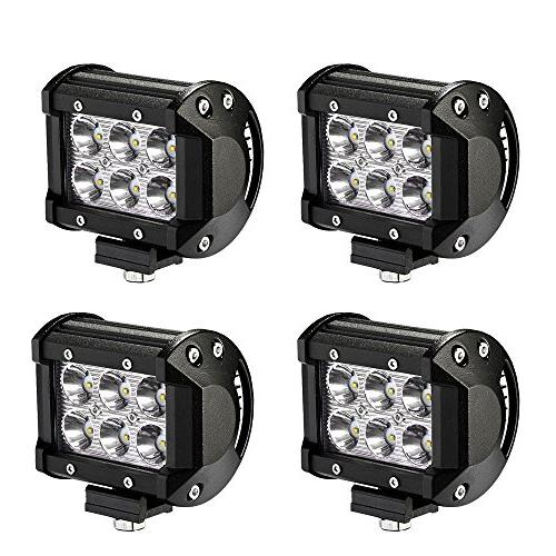LED Light Bar YITAMOTOR 4PCS 18W 4Inch Led Spot Work Light L