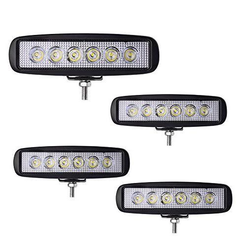 LED Light bar YITAMOTOR 4Pcs 6Inch 18W Spot Led Work Light B