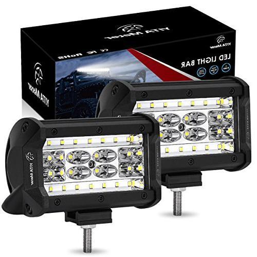 LED Pods YITAMOTOR 2 Pcs 5'' 168W QUAD Row LED Light Bar LED