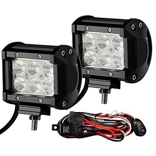 "Led Light Bar YITAMOTOR 2PCS 4"" 18W LED Pods 1800LM Flood Be"