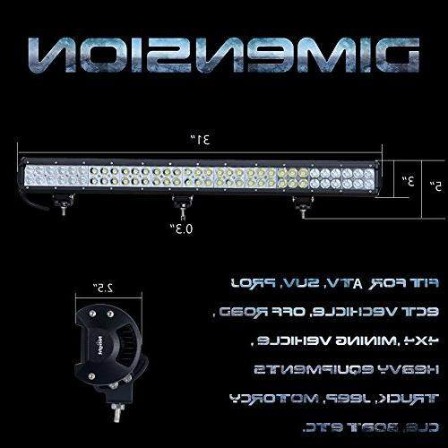 """Nilight 31"""" 198W Light Flood Combo Off for SUV Jeep Years Warranty"""
