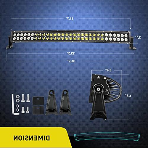 "Nilight 32"" Spot Flood LED Lamp Light Bar Off Fog Driving Work Lights for SUV Boat Jeep Lamp,2 Warranty"