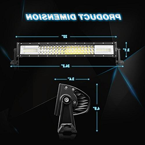 Nilight Light Bar 22Inch & Amber Flash 13500LM Flood Led Bar Off Lights for Wiring Harness Warranty