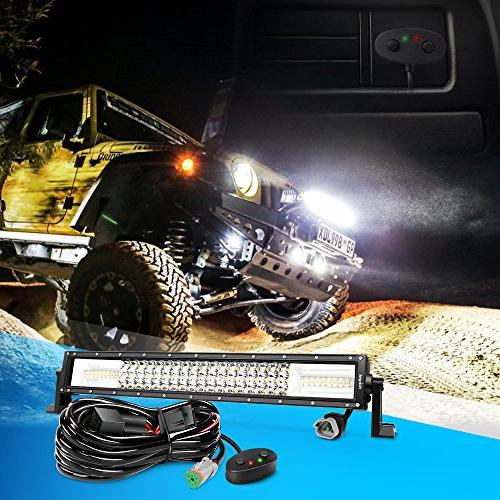 Nilight 22Inch 270W Amber 13500LM Flood Led Bar Lights Wiring Warranty