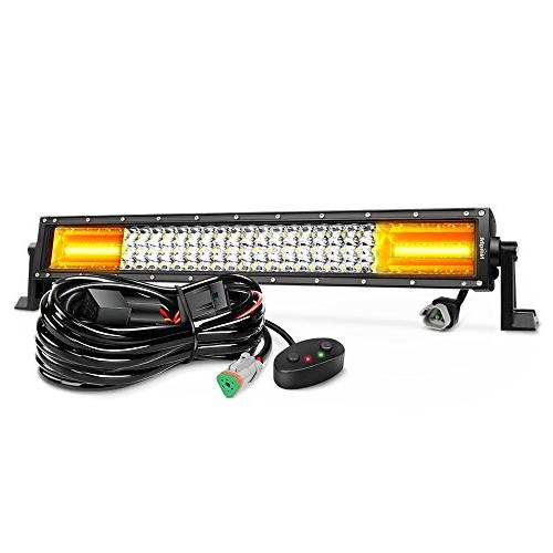 Nilight LED Light Bar 22Inch 270W White & Amber Flash Triple