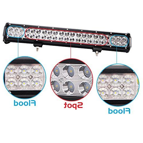 Northpole Light Black 126W Waterproof Spot Flood Combo LED Driving Fog with Bracket for Off Truck, Car, Jeep
